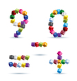 Figures and signs made of colored blocks vector
