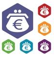 Euro purse rhombus icons vector
