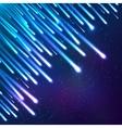 Blue neon falling down meteorites vector