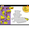 Cartoon caterpillar jigsaw puzzle game vector