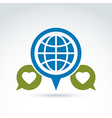 Globe with leaves growing and speech bubbles icon vector
