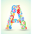 Letter a colored font from numbers vector