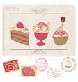 Set of cupcakes on old postcard vector