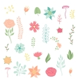 Set of various stylized flowers and elements vector