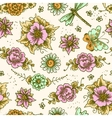 Vintage floral colored seamless pattern vector