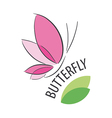 Logo pink butterfly and petals vector