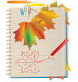 Autumn color leaves in school notebook vector