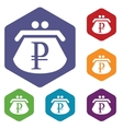Rouble purse rhombus icons vector