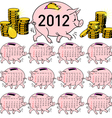 Stylish calendar pig piggy bank for 2012 sundays f vector