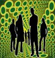 Silhouettes people in green box vector