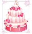 Wedding pink cake vector