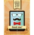 Hipster poster with vintage tablet vector