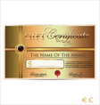 Golden gift certificate vector