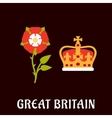 Tudor rose and crown of great britain vector