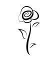 Hand drawn rose flower symbol isolated sketch vector