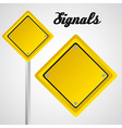 Rhombus yellow sign over gray background vector