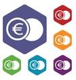 Euro coin rhombus icons vector