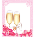 Wedding champagne glasses vector