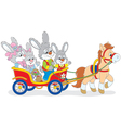 Easter bunnies riding a pony carriage vector