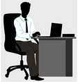 Silhouette man at the desk with laptop vector