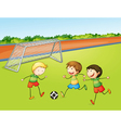 Boys playing football vector