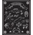 Fish and seafood blackboard elements vector