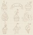 Cupcakes sketch set vector