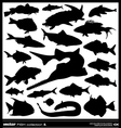Fish silhouette set vector