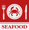Crab fork and knife icon restaurant sign vector