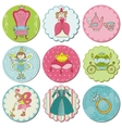 Tags with princess elements vector