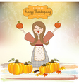 Autumn girl with apples and pumpkins vector