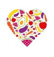 Fruits and vegetables heart vector