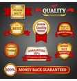 Golden quality labels set vector