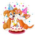 Birthday party dog and cat vector