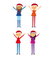 Four childrens with hat christmas isolated over wh vector