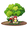 A girl doing yoga under the tree vector