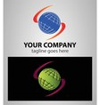 Global earth planet abstract network logo vector