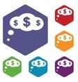 Dollar cloud rhombus icons vector