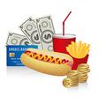 Fast food combo with a hot dog french fries soda c vector