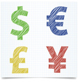 Money sign pen style vector