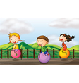 Cartoon bouncing kids vector