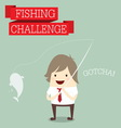 Businessman relaxing and catching fish with words vector