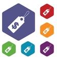 Dollar tag rhombus icons vector