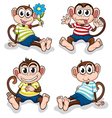 Monkeys with different facial expressions vector