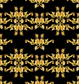 Golden floral pattern on black vector