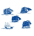 Medieval sailing ships icons vector