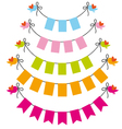 Bunting flags with birds set vector