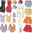 Cute dress up paper doll vector