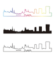Zurich skyline linear style with rainbow vector