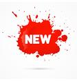 Red sticker stain blot splash with new title vector